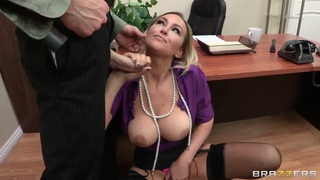 Abbey Brooks gets a hardcore lesson of good manners by her boss image