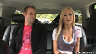 Snuggles with busty Amy Reid in the bang bus image