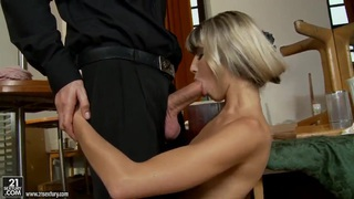 Doris Ivy is afraid that she can't swallow such a big cock image