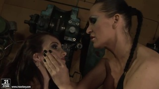 Image: Sex by brunette whores in leather Aleksandra Black and Mandy Bright