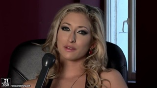 Sexy porn model Karina Shay talks in the interview scene image