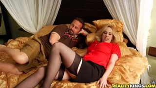 Hot blonde and her husband getting ready for some fucking and sucking image