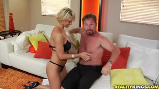 Stud with a nice beard having fun with a sexy blonde with nice tits image