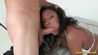 Bella Moretti is being fucked hard in her mouth and wet pussy image