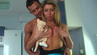 Betsy & Kiki & Sweety & Tess in hot college sex scene with two guys and a chick image