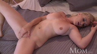 MOM Blonde bombshell teases to camera then has orgasm image
