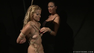 Mandy Bright tie the body til neck the hot chick image