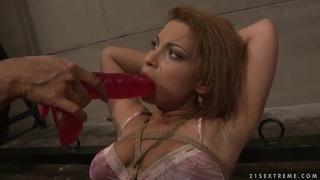 Many Bright hot lesbian force dildo fuck a hot babe image