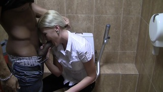Pamela in blonde having sex in restroom in stockings porn vid image