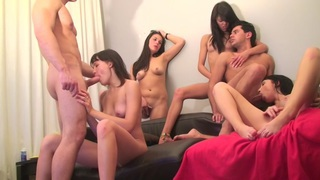 Berta & Lerok & Eva Dark & Lucille & Nora & Vicktoria Tiffany in alluring chicks in a hot college_sex video image