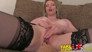FakeAgentUK Stocking clad MILF gives oral feast image