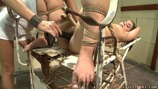 Image: Mandy Bright dildo fuck hard a tied babe