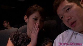 Japanese cutie tugging and sucking in cinema image