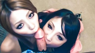 Sakura Kiryu  and her horny friend take on a horny dude heating up his kitchen_with hot blowjob... image