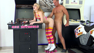 Lily Rader taking big dong in her roller skates and bikini image