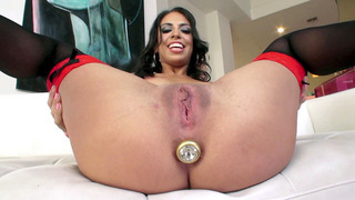 Image: Taylor May has her ass dildoed and her pussy injected with thick lube