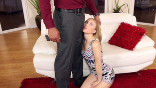 Lily Rader gets down on her knees and bargains with_her mouth image