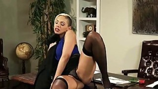 Image: Sexy blonde office girl Selena Rose pounded on the desk