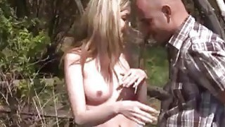 Image: Abby deep-throating man meat outdoor