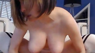 Huge Natural Tits Babe Rides her Toy image