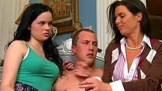 Sexy mum watches as stud pounds sweet babes twat image