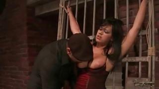 Image: Hot brunette getting bondaged and humiliated