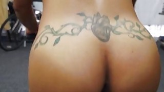 Fit ebony MILF likes to give a blowjob image