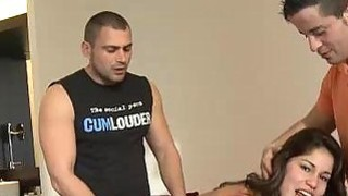 Crazy spanish Slut Fucks Two studs image