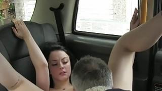 British amateur babe fucks in socks in fake taxi image
