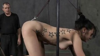 Gagged hotty acquires violent whipping on her tits image