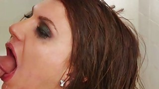 Teen brunette slut ball gagged and analyzed in the toilet image