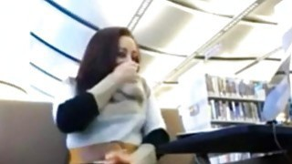 Image: Hitachi action in library with horny teen on webcam