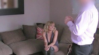 Busty blonde British Milf banged on casting image