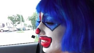 Clown teen sucking huge cock in the car image