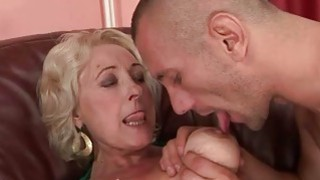 Busty fat granny in black stockings getting fucked image