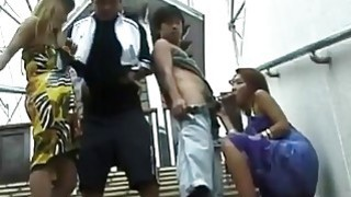 Pervs bang their horny Japanese girlfriends in public image