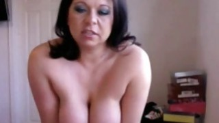 Brunette busty milf Riding her sex toy on webcam image
