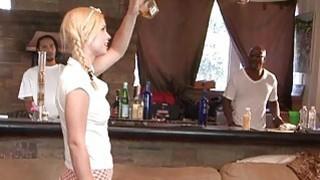 Image: Sexy blonde biatch Tara Lynn Foxx interracial gangbang