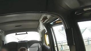 Cheating wife banging in British fake taxi image