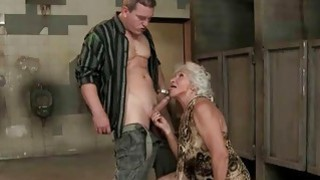 Hot busty granny getting fucked in public toilet image