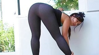 On high heels and in leggings image