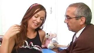 Image: Babe is letting her aged teacher taste her fur pie