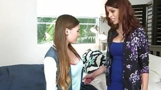 Pretty teen Skye West lesian session with busty mom Eva Long image