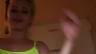 Image: Euro blonde bangs in public hallway