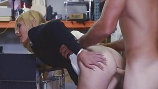Image: Blonde chick with a huge hard pole in her pussy