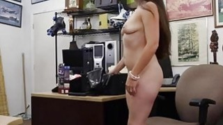 Sexy brunette pawns her pussy and fucked by horny pawn man image