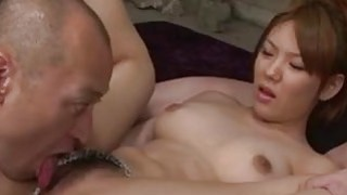 Image: Busty Jap babe is deeply double penetrated in wild threesome