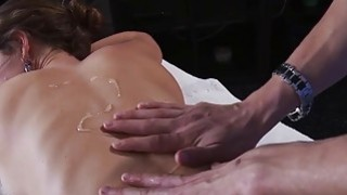Horny Jenni loves hot cum on her mouth after body massage image