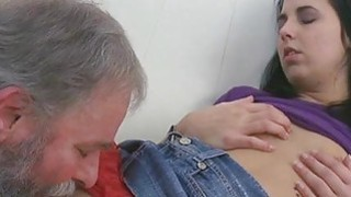 Image: Young chick gets brave to suck old cock of a guy