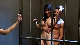 Hot ladies hot foursome in the jail cell image